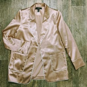Forever 21 Blush Satin Long Blazer